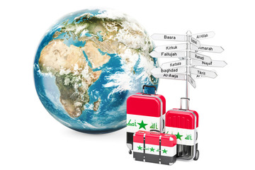 Iraq travel concept. Suitcases with signpost and Earth Globe, 3D rendering
