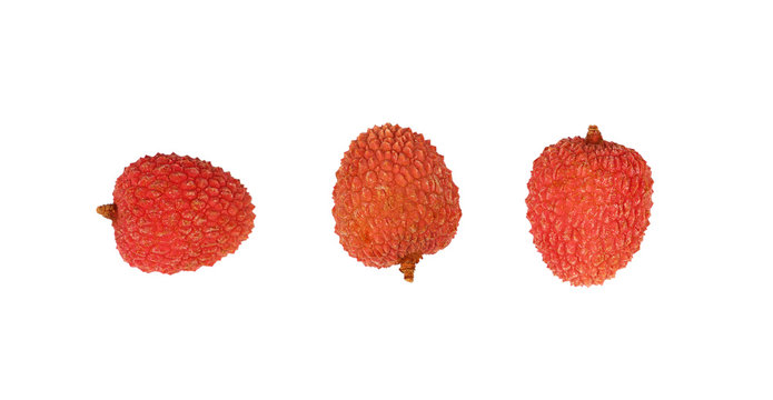 Fresh red lychee isolated close up on white