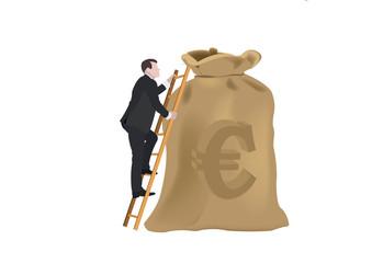 persona con scale sale sopra sacco di valuta