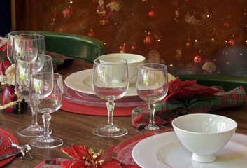 Table decorated for the Christmas supper