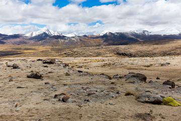 Wall Mural - Cordillera Vilcanota scenic landscape mountains range ridge peaks view Peru.