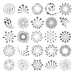 New year fireworks icons. Firework icon set for happy christmas celebrate party and birthday or anniversary events collection, vector illustration
