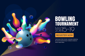 Vector glowing neon bowling tournament banner or poster with multicolor 3d bowling balls and pins.