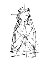 Jesus Virgin Mary praying Virgin Mary praying illustration Face illustration