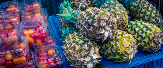 fresh pineapple  at a market