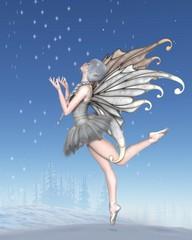 Ballerina Winter Fairy Dancing in the Snow - fantasy illustration