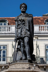 Statue of the 16th century poet Luis Vaz de Camoens in Lisbon, Portugal, sculpted by Vitor Bastos in 1867. Camoens is considered Portugal's and the Portuguese language's greatest poet.