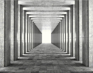 Wall Mural - Light passing through the columns of a modern urban building. Light and shadows between the concrete columns of the long koredor. 3d illustration