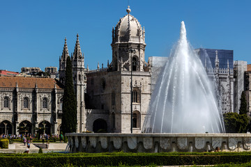 Empire Square fountain and the Jeronimos Monastery. The square commemorates the Portuguese Empire and was built for the Portuguese World Exhibition in 1940.