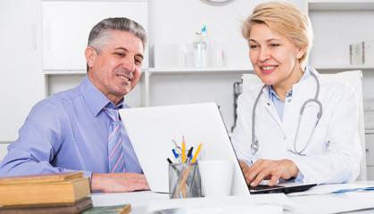 Mature man visits doctor