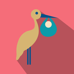 stork cartoon in flat style with shadow with baby