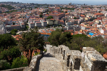 City of Lisbon, Portugal, seen from Sao Jorge Castle .