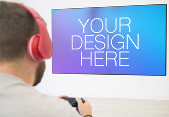 Man Playing Video Game Mockup