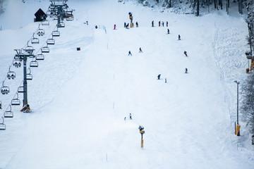 people skiing on slopes in winter scenery in Kranjska Gora in Julian Alps, Slovenia
