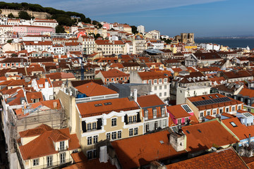 View of Lisbon, Portugal from the Santa Justa Lift, towards the sea and the Lisbon Cathedral.