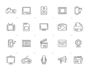 Line modern multimedia icons  - vector icon set