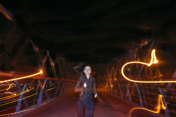 long exposure pretty woman running