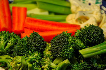 Platter of fresh vegetables including close up of broccoli