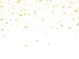 Golden Tinsel Flying Confetti. Christmas, New Year, Birthday Party Background. Holidays Creative Luxury VIP Confetti Decoration. Gold Glitter, Sparkling Rich Border. Elegant Texture, Golden Tinsel.