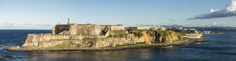 Wide panorama of the El Morro Fortress in San Juan, Puerto Rico. Wall mural