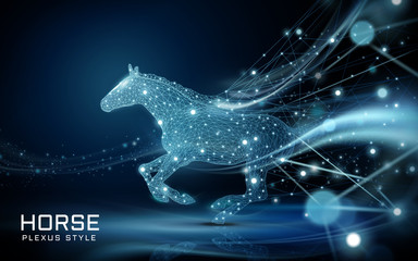 Bolting horse in plexus style