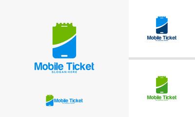 Mobile Ticket logo designs vector, Phone Ticket logo template designs