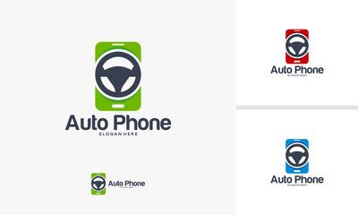 Mobile Automotive Logo designs vector, Driver Phone logo, Mobile Driver Iconic logo template