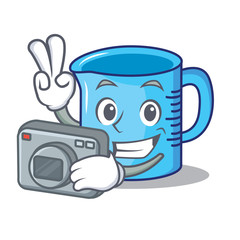Photographer measuring cup character cartoon