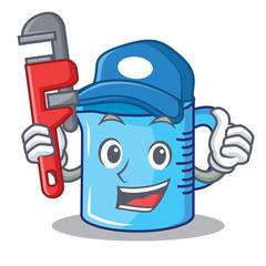 Plumber measuring cup character cartoon