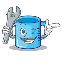 Mechanic measuring cup character cartoon