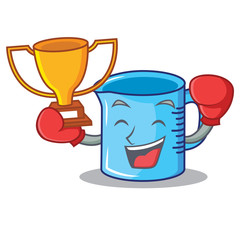 Boxing winner measuring cup character cartoon