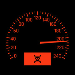 Vector car speedometer dial with skull symbol. High speed concept