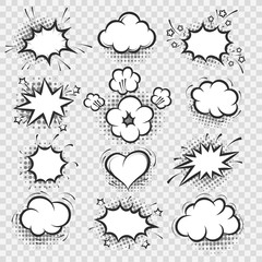 Comic bubbles. Vector cartoon talk bubble and thinking balloon elements isolated on transparent background