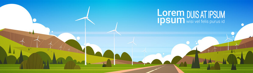 Wind Turbines Near Road Natural Landscape Background Woth Copy Space Alternative Power Concept Flat Vector Illustration