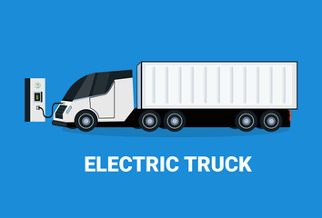 Electric Truck At Charging Station Icon Hybrid Trailer Vechicle Flat Vectro Illustration