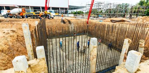 construction building works with concrete pump