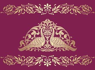 peacocks, feathers ,wedding card design, royal India