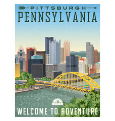 vintage style travel poster or luggage sticker of Pittsburgh Pennsylvania with river, bridge and skyline.