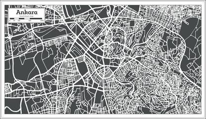 Ankara Turkey Map in Retro Style.