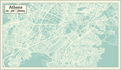 Athens Greece Map in Retro Style.