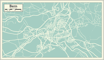 Bern Switzerland Map in Retro Style.