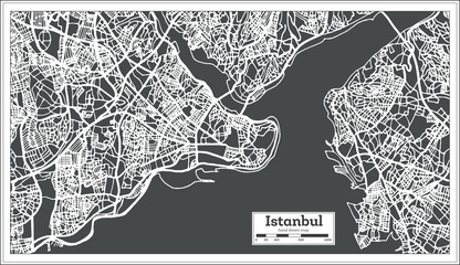 Istanbul Turkey Map in Retro Style.