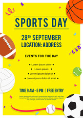 Sports Day poster invitation vector illustration, Sport equipment on yellow background