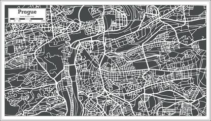 Prague Chezh Republic Map in Retro Style.