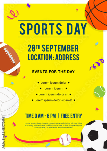 sports day poster template - sports day poster invitation vector illustration sport