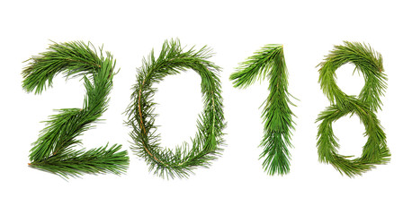 2018 New Year. Two thousand eighteen New Year. Numbers are made of a pine tree branches. Isolated on a white background