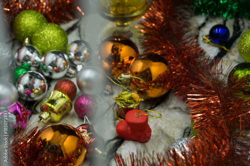 festive blurred background with sparkling lights and tinsel christmas and magical new year background template
