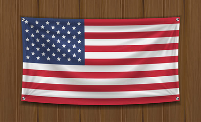 real america flag on wall wood board