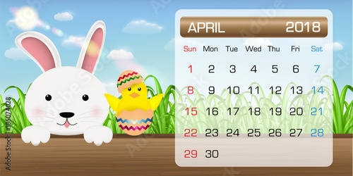 calendar of april 2018 month bunny chick easter