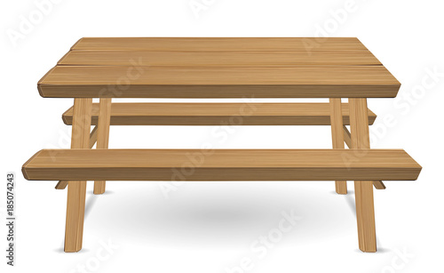 picnic wood table on a white background\